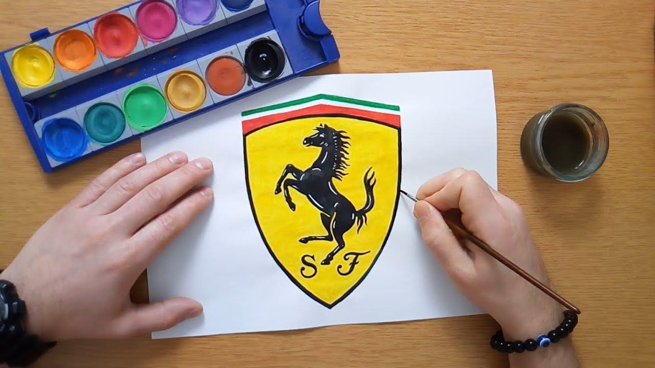How To Draw The Ferrari Logo Drawing Car Logos Youtube