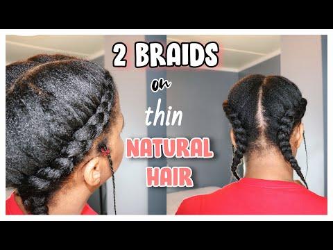 two-braids-on-fine-natural-hair- -type-4-hair-quarantine-hairstyles