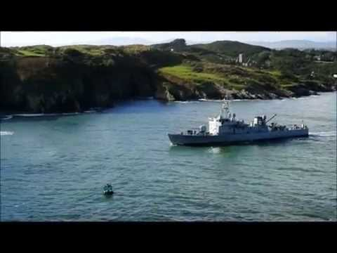 Irish Navy ship leaving Baltimore on the Wild Atlantic Way.