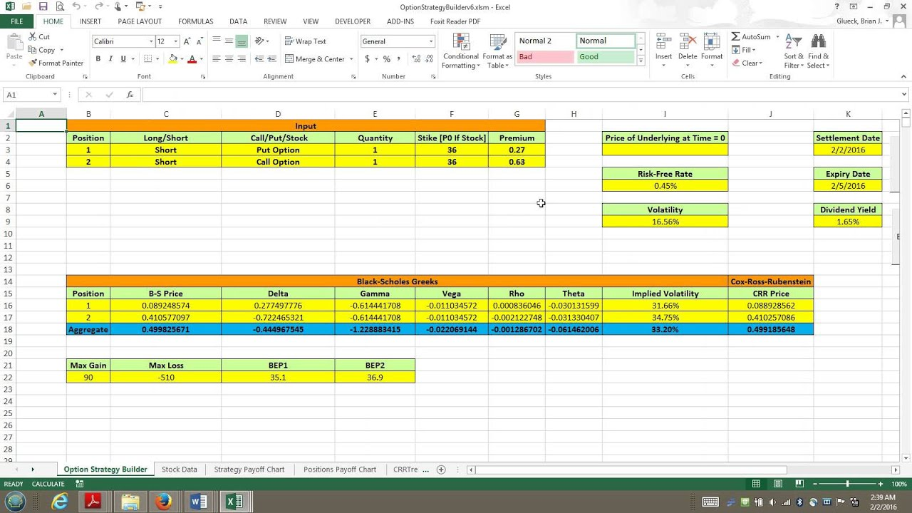Option Strategy Builder Excel Vba Demo