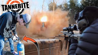 We Made the World's LARGEST Grenade with a Nitrous bottle and Tannerite!