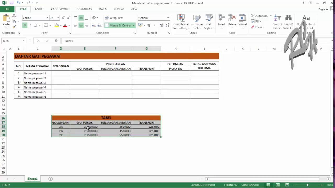 Tutorial Excel Membuat Daftar Gaji Pegawai Rumus Vlookup Part 1