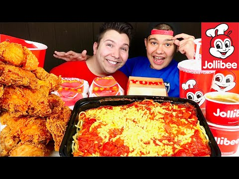 My Little Brother Tries Jollibee For The First Time • MUKBANG