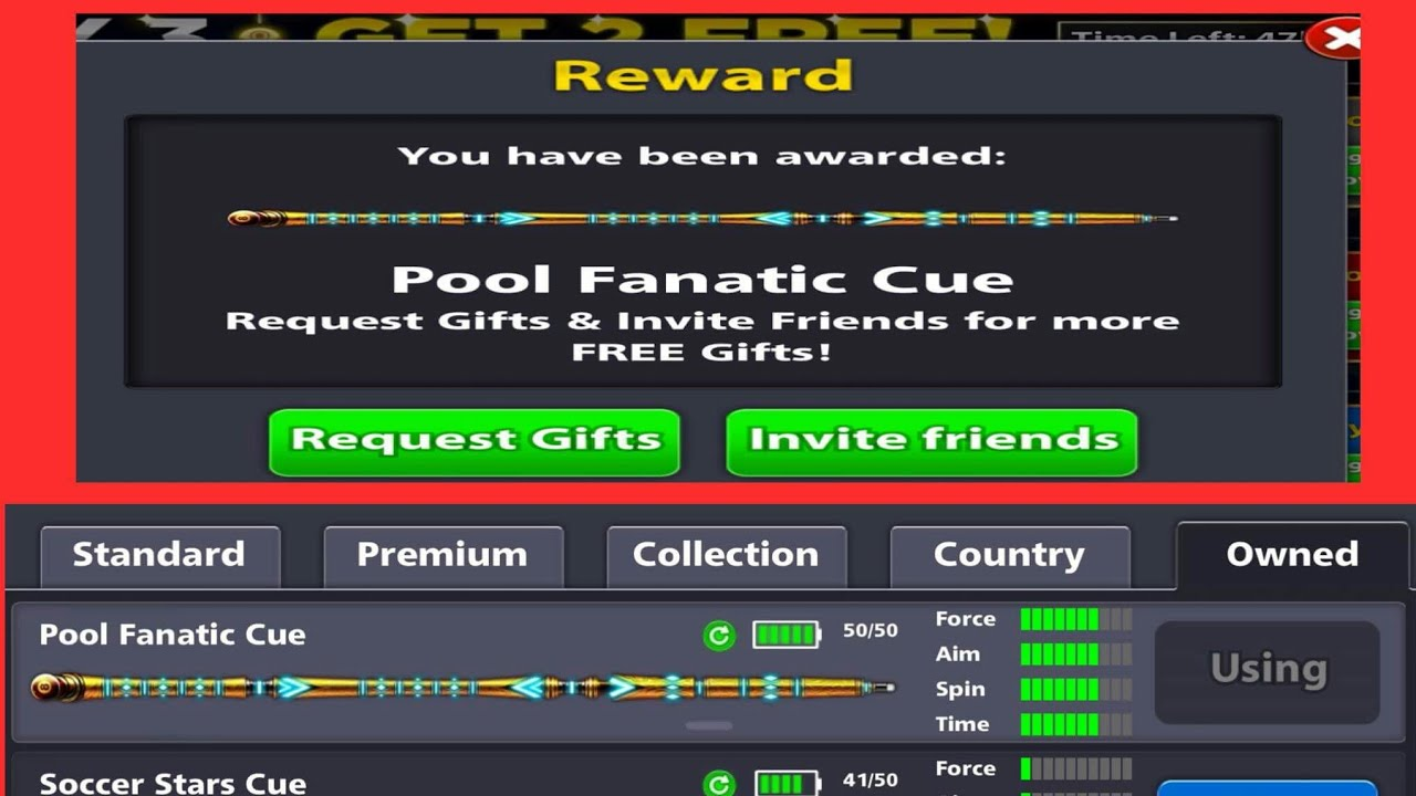 "8 Ball Pool : Claim ""Pool Fanatic Cue"" Free 