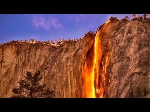 Огненный водопад Лошадиный хвост. Калифорния. США.