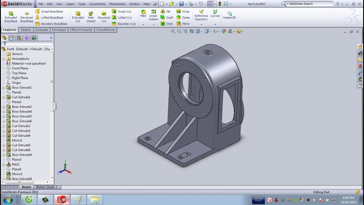 Vẽ 1 chi tiết 3D trên Solidwork 2010 – part 3