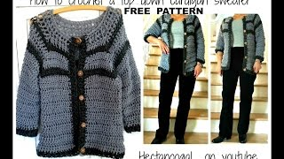 Very easy CROCHET CARDIGAN- SWEATER-Jumper, Make ANY Size. top down -  #1164yt, sweaters & tops