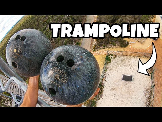 2 BOWLING BALLS Vs. TRAMPOLINE from 45m! (Double Bounce Experiment)