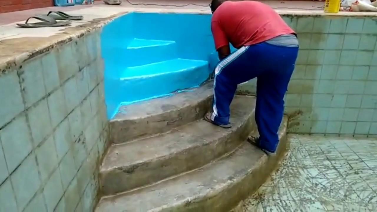 Piscina de azulejos transformada em fibra de vidro - Azulejos para piscina ...
