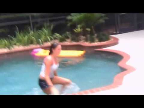 Cristen pushed in the pool - YouTube