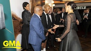 Duchess Meghan speaks with Pharrell Williams about public life at 'Lion King' premiere | GMA Digital