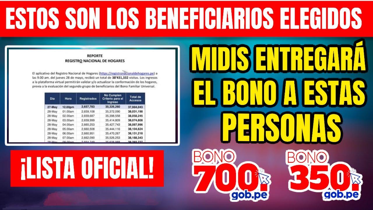 ¡YA Es Oficial! A Estos Beneficiarios Elegio El MIDIS Hoy I Bono De 350 soles (Yanapay Perú)