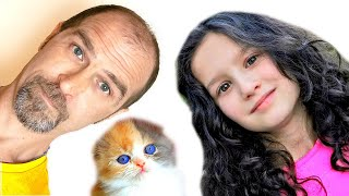 Alice and Dad found a funny Kitten | Fun Stories for kids