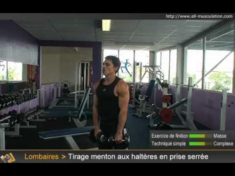 Vidéo du tirage menton (rowing vertical) serré haltères - YouTube 1ee10a74e77