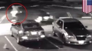 Instant karma  California robber shoots HIMSELF when victim runs him over in car   TomoNews