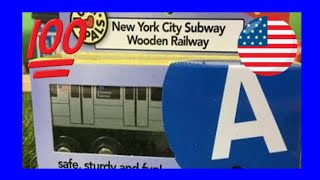 unboxing NYC Subway A-Train Munipals Wooden Toy Train (03746)
