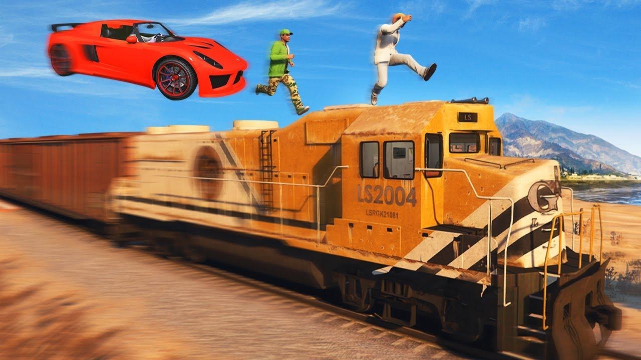 300MPH CARS vs TRAIN RUNNERS GTA 5 Funny Moments  Doovi