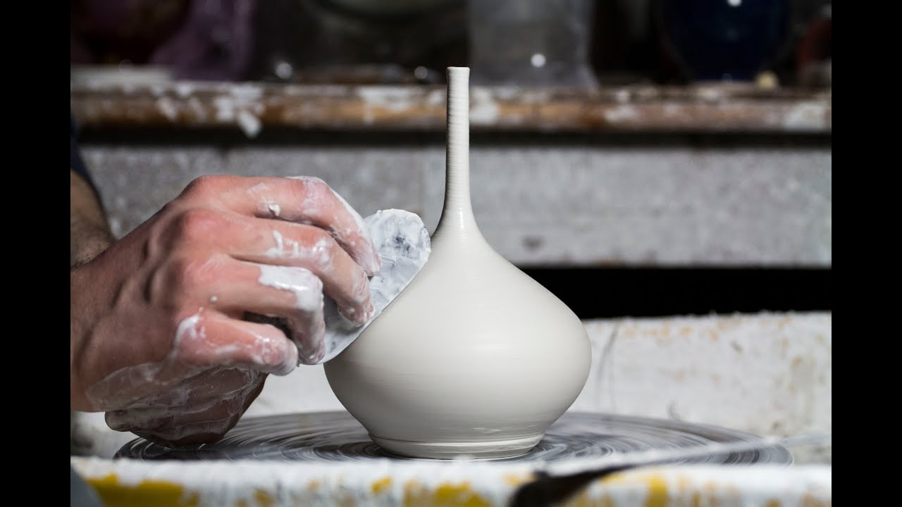 Throwing A Small Long Necked Porcelain Vase Youtube