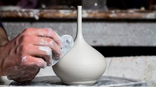 Throwing a Small Long-Necked Porcelain Vase
