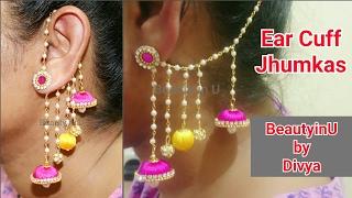 DIY | 2 in 1 Jhumkas | Earcuff Jhumkas making at Home | Silk Thread Earrings