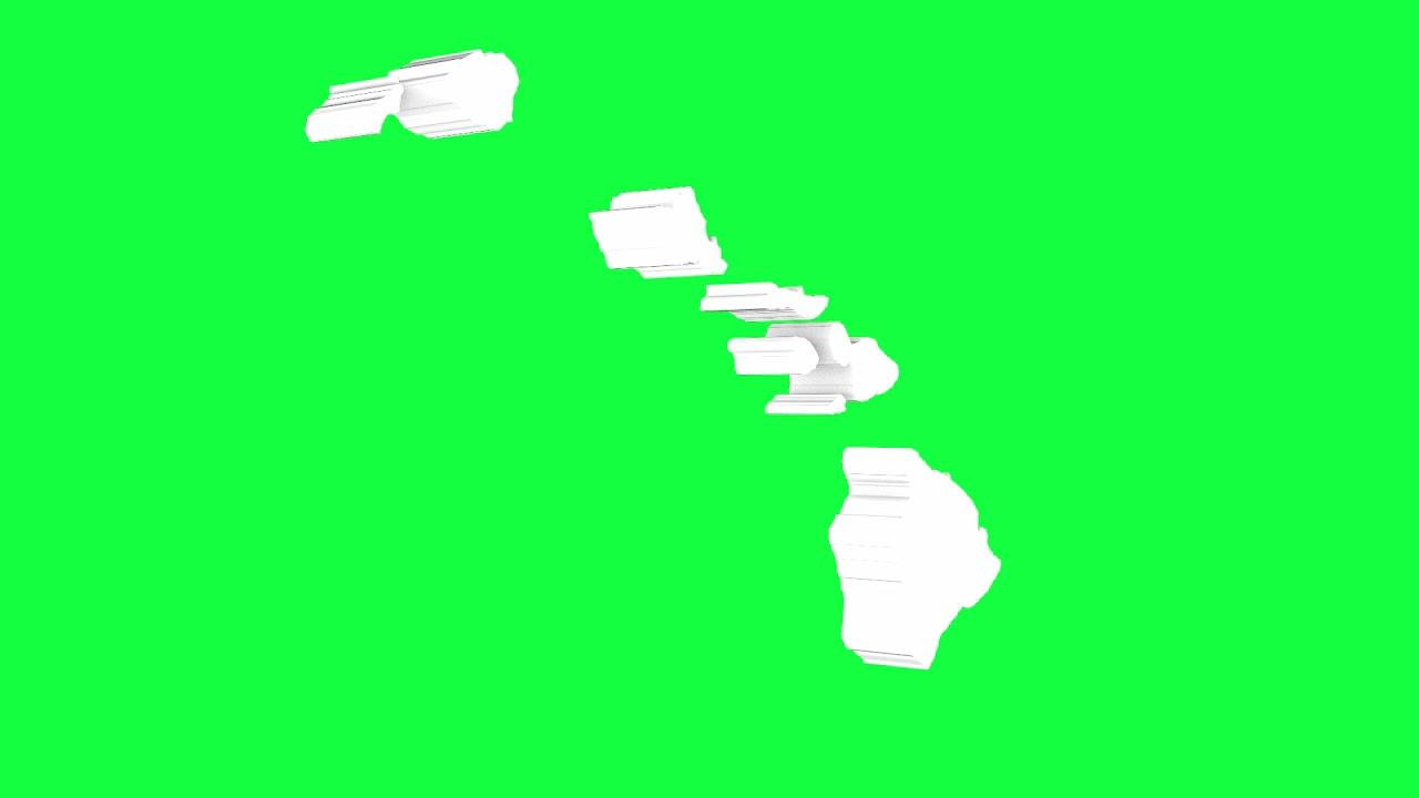 Hawaii USA Outline Green Screen Animation Loop