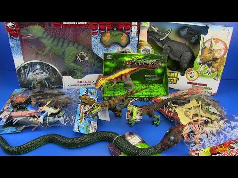 Dinosaurs Jurassic World & Box of toys Ocean World,Dinosaurs Collection ,Snake Toys Video for kids