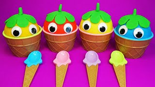 4 Colors Play-Doh Ice Cream Cups Surprise Toys - Mermaid and Daisy   ColorBug Playtime