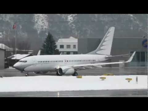 Boeing 737-700 BBJ landing & take-off @ Sion Airport, Switzerland - 02/01/2012