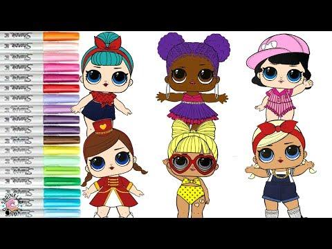 LOL Surprise Dolls Coloring Book Compilation Short Stop Purple Queen Majorette SPF QT