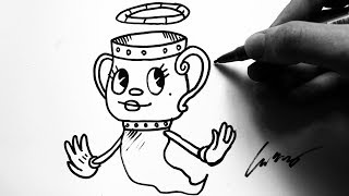 Como Desenhar a Legendary Chalice [Cuphead NPC] - (How to Draw Chalice) - OLD CARTOON #49
