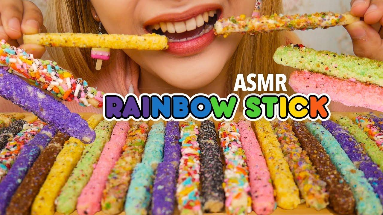 ASMR RAINBOW CHOCOLATE STICK COOKIES | ASMR Indonesia
