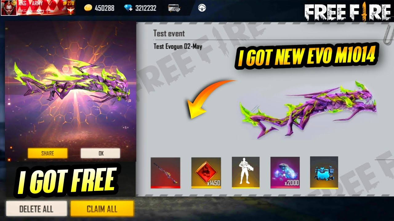 I Got Free New M1014 Green Flame Draco || New M1014 Evolution Skin || Garena - Free Fire
