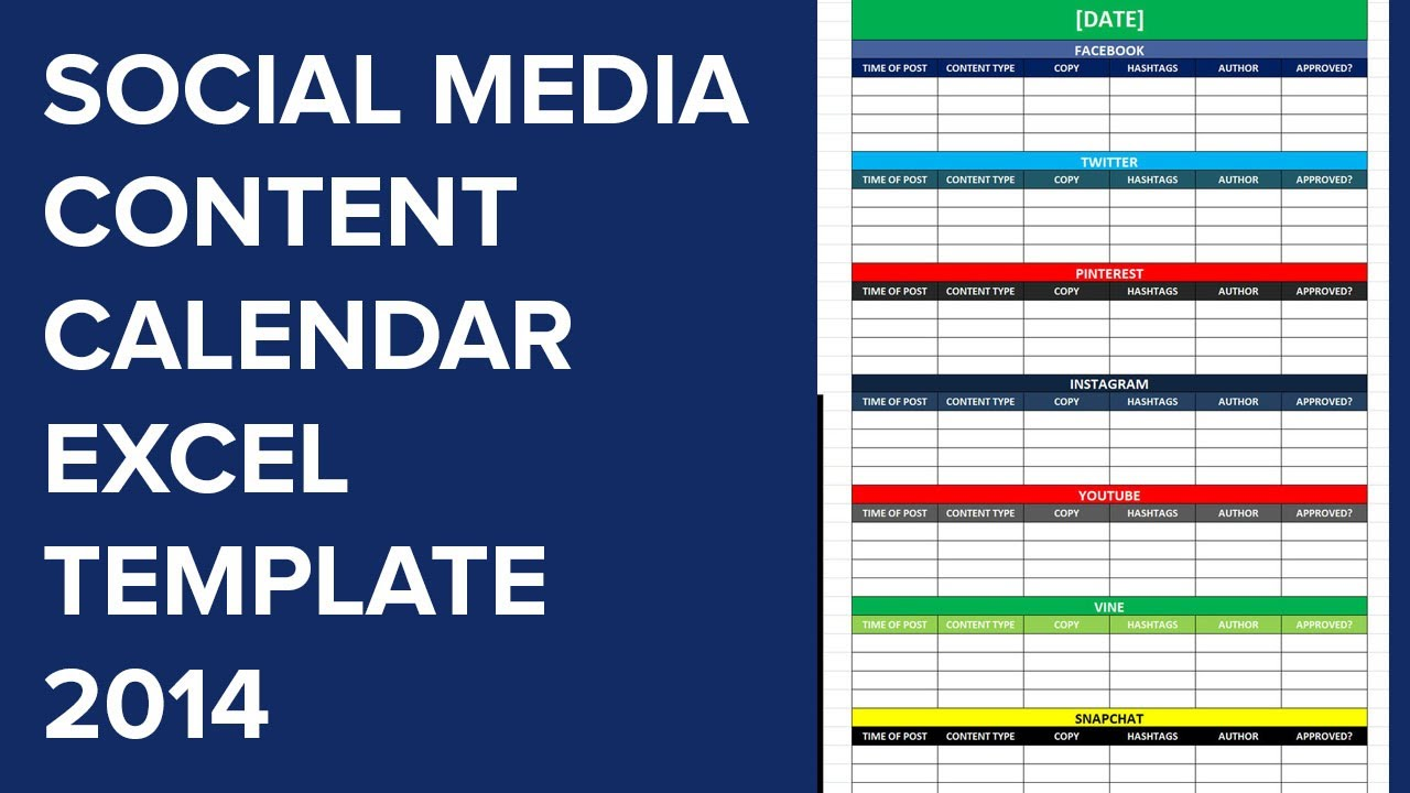 Social Media Calender Template Excel Editorial Planner For - Social media content schedule template