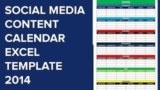 Social Media Calender Template Excel 2014 | Editorial Planner for Social Media
