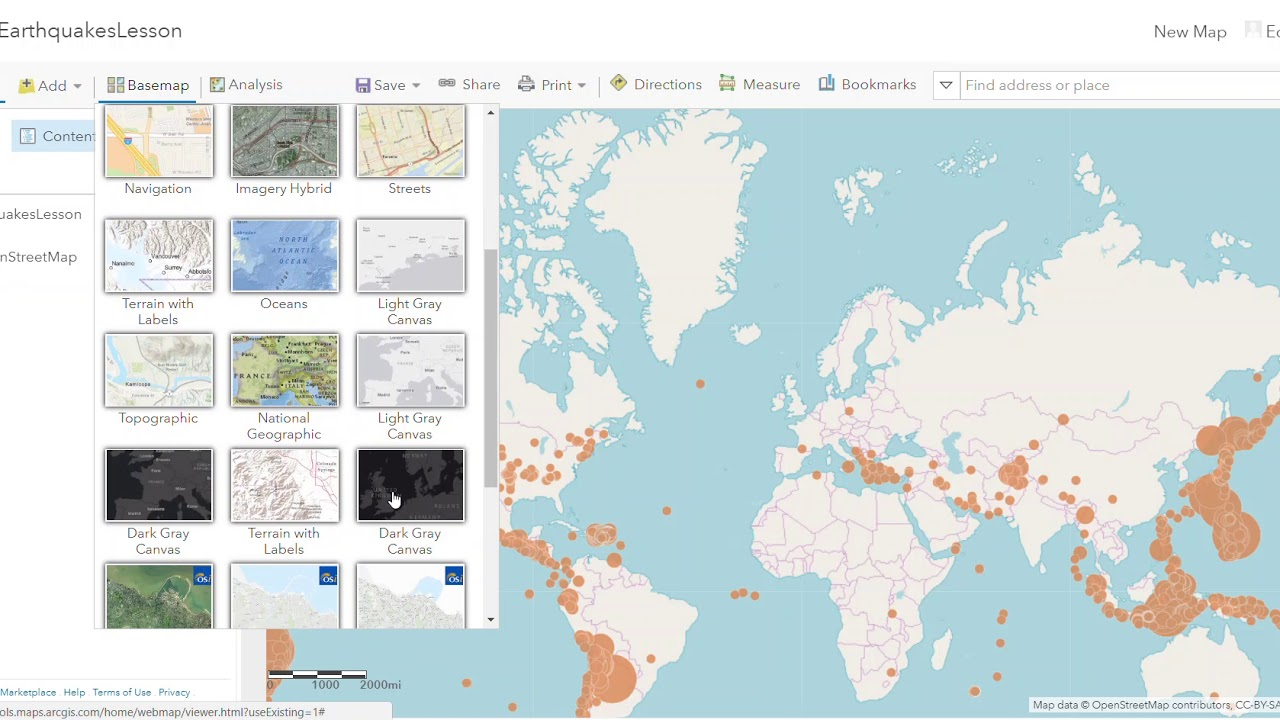 How to change a base map in ArcGIS Online