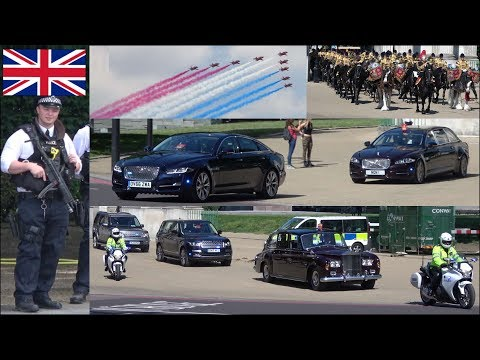Police activity, convoys, escorts, military aircraft and horses during Royal event