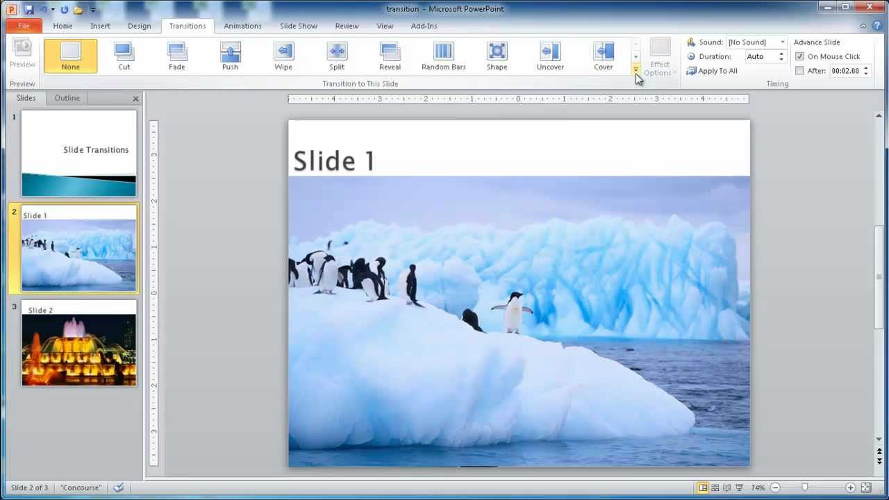 Add Slide Transitions in PowerPoint - YouTube