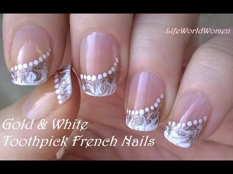 TOOTHPICK NAIL ART #5 / Gold & White Side FRENCH MANICURE Design - TOOTHPICK NAIL ART #5 / Gold & White Side FRENCH MANICURE Design