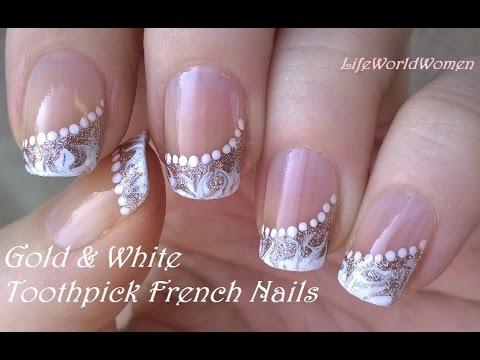 toothpick nail art #5 gold &