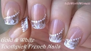 Gambar cover TOOTHPICK NAIL ART #5 / Gold & White Side FRENCH MANICURE Design