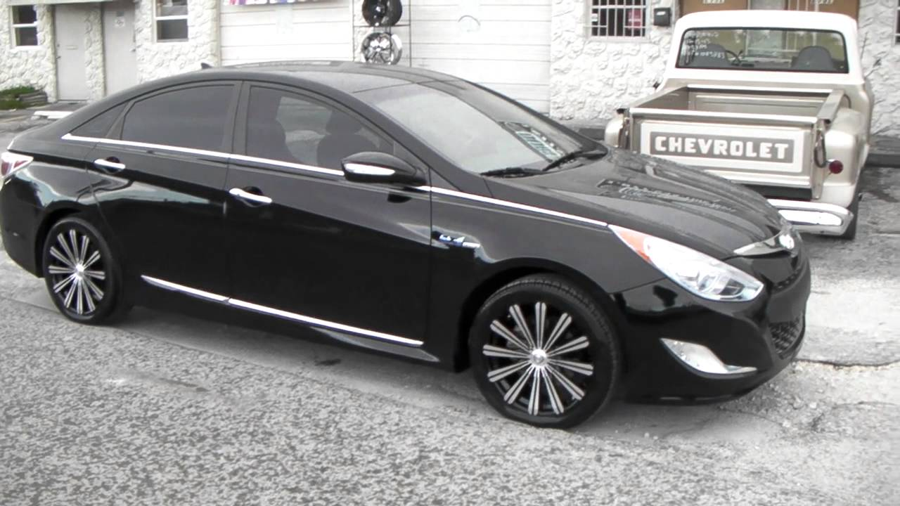 "Sonata With Black Rims >> DUBSandTIRES.com 18"" Inch Borghini B18 Black Wheels 2013 Hyundai Sonata Rims Miami Ft ..."