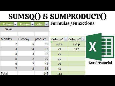 SUMSQ Formula & SUMPRODUCT Formula Excel | Formulas And Functions Excel
