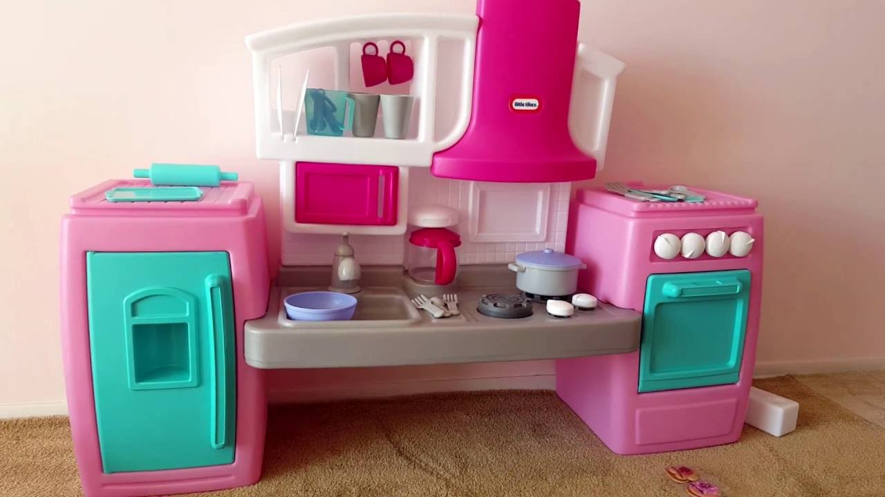 Mini Small Pink Kitchen With Fridge And Oven For Kids