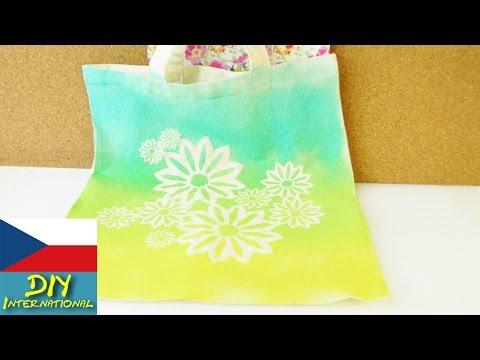 Taška s barevným přechodem na léto - hezké květinové vzory