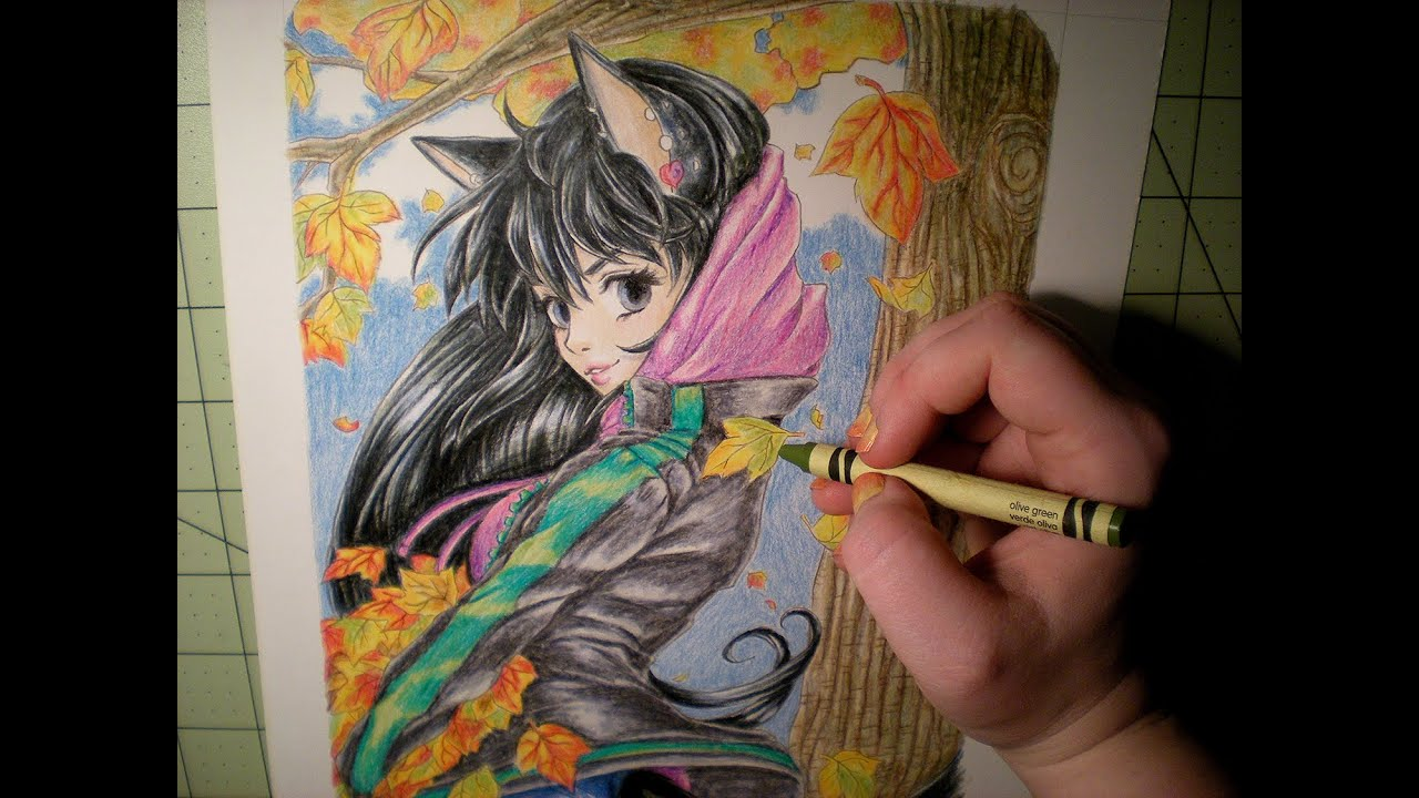 Crayon and Prismacolor Coloring Pencil - speedpaint - Falling Leaves ...