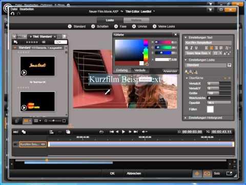 Textlayout in Avid studio und Pinnacle Studio