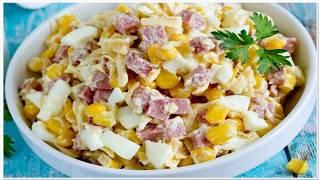 Салат с колбасой, кукурузой, яйцами