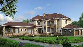 Проект дома в европейском стиле. Дом с гаражом, бассейном и террасой. Ремстройсервис М-152