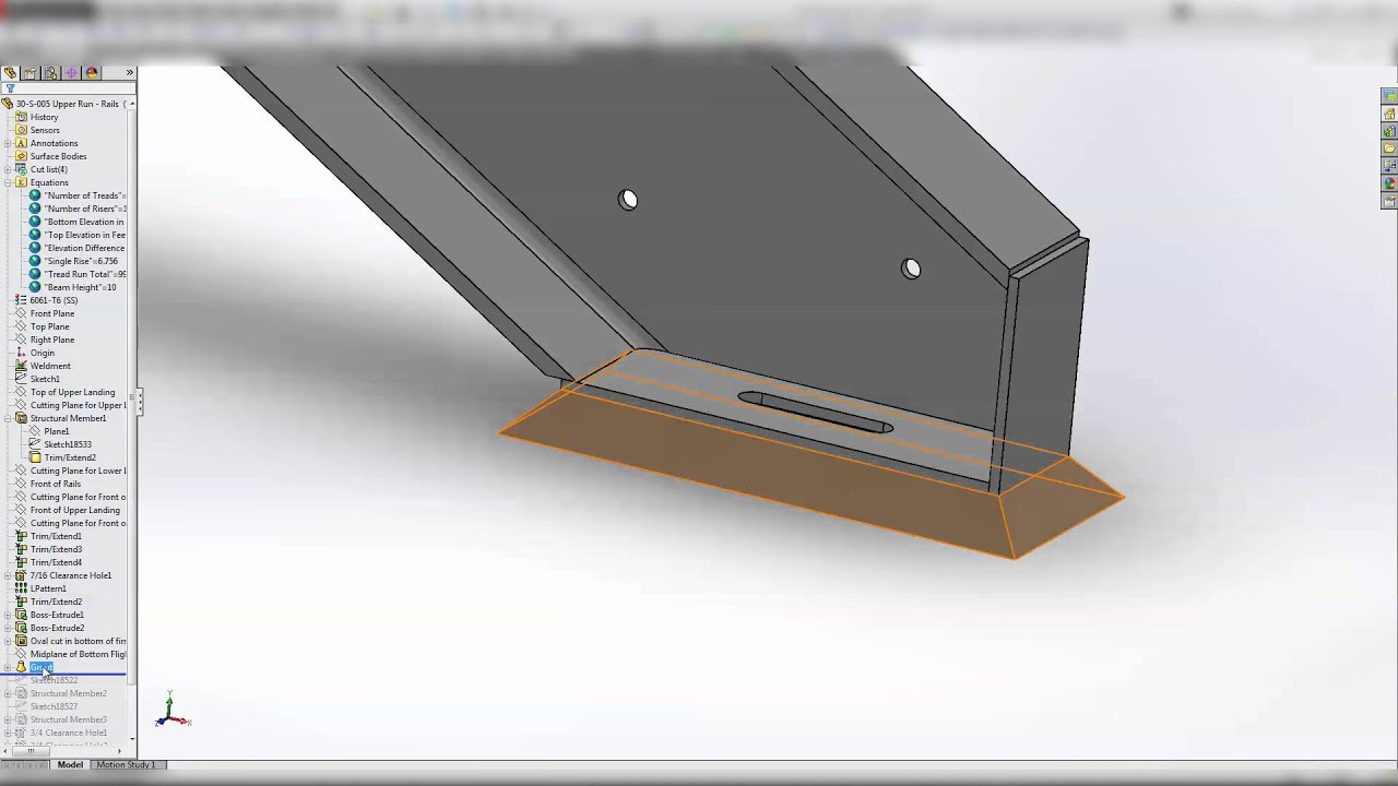 Solidworks Training - Tutorial: Structural Steel Stairs Pt  5 of 5 and CAD  Files