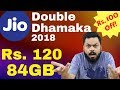 JIO DOUBLE DHAMAKA 2018 - अब सिर्फ ₹120 में 84GB डाटा | ₹100 Off & 1.5GB Extra FREE